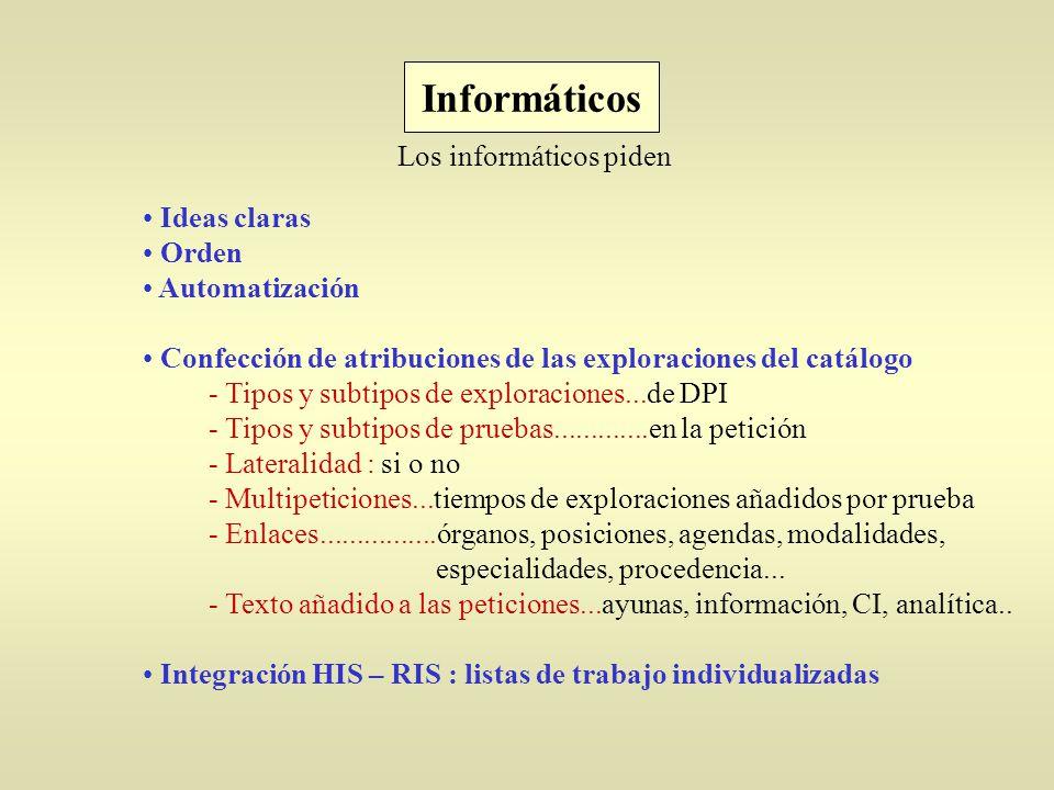 Ideas claras Orden Automatización Confección de atribuciones de las exploraciones del catálogo - Tipos y subtipos de exploraciones...de DPI - Tipos y subtipos de pruebas.............en la petición - Lateralidad : si o no - Multipeticiones...tiempos de exploraciones añadidos por prueba - Enlaces................órganos, posiciones, agendas, modalidades, especialidades, procedencia...