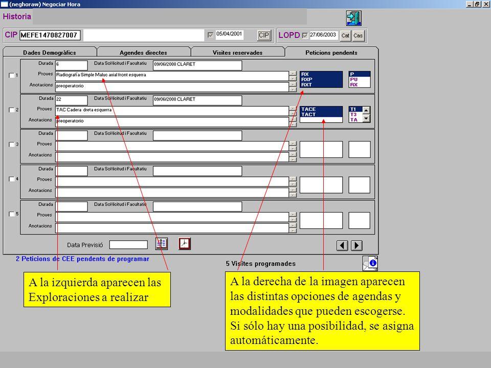 A la derecha de la imagen aparecen las distintas opciones de agendas y modalidades que pueden escogerse.