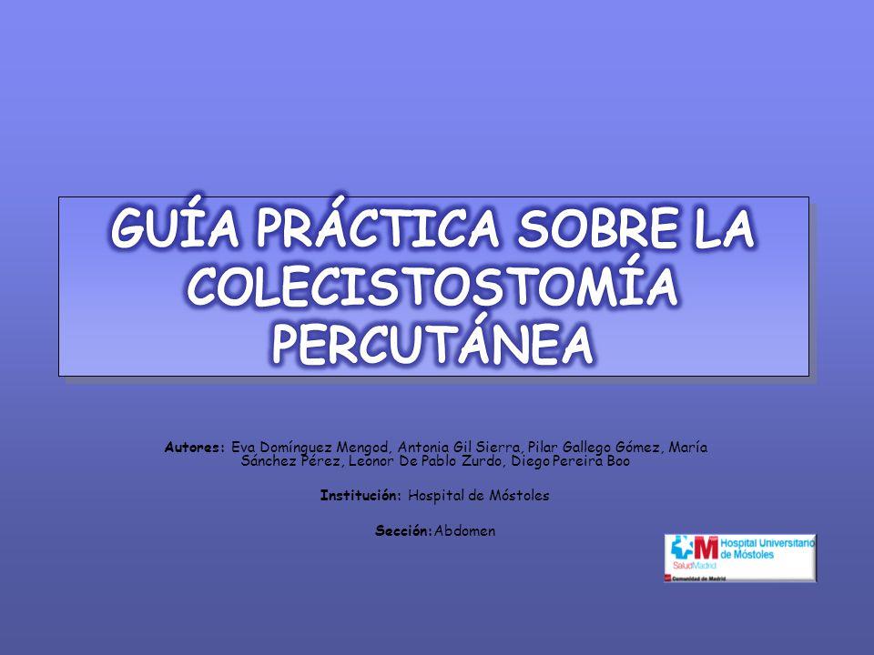 Realización de una guía práctica de los aspectos generales de la colecistostomía percutánea, y de su procedimiento técnico, detallado paso a paso.