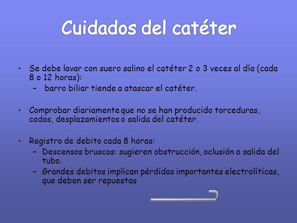 Se debe lavar con suero salino el catéter 2 o 3 veces al día (cada 8 o 12 horas): – barro biliar tiende a atascar el catéter. Comprobar diariamente qu