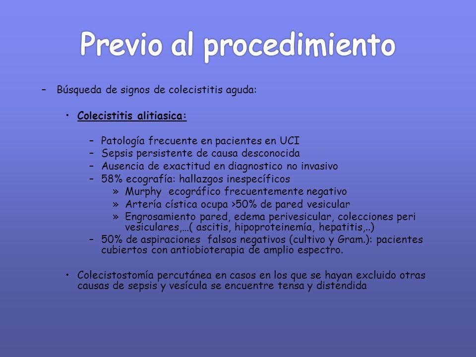 –Búsqueda de signos de colecistitis aguda: Colecistitis alitiasica: –Patología frecuente en pacientes en UCI –Sepsis persistente de causa desconocida