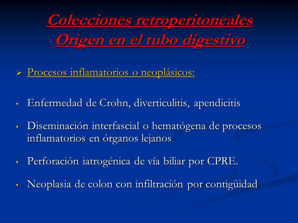 Colecciones retroperitoneales Origen en el tubo digestivo Procesos inflamatorios o neoplásicos: Procesos inflamatorios o neoplásicos: Enfermedad de Cr