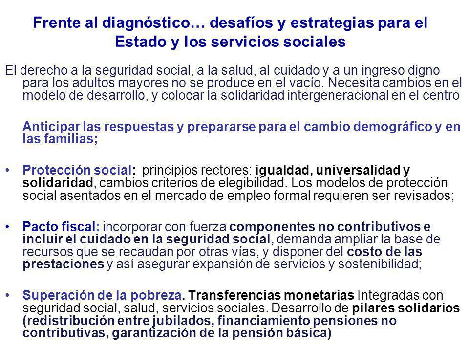 Frente al diagnóstico… desafíos y estrategias para el Estado y los servicios sociales El derecho a la seguridad social, a la salud, al cuidado y a un