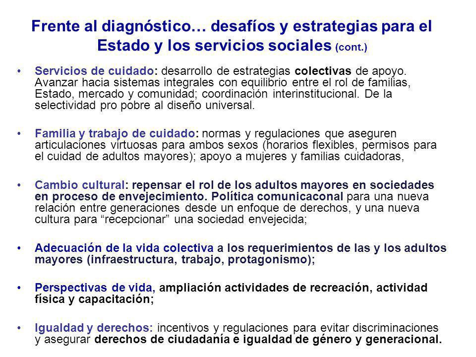 Frente al diagnóstico… desafíos y estrategias para el Estado y los servicios sociales (cont.) Servicios de cuidado: desarrollo de estrategias colectiv