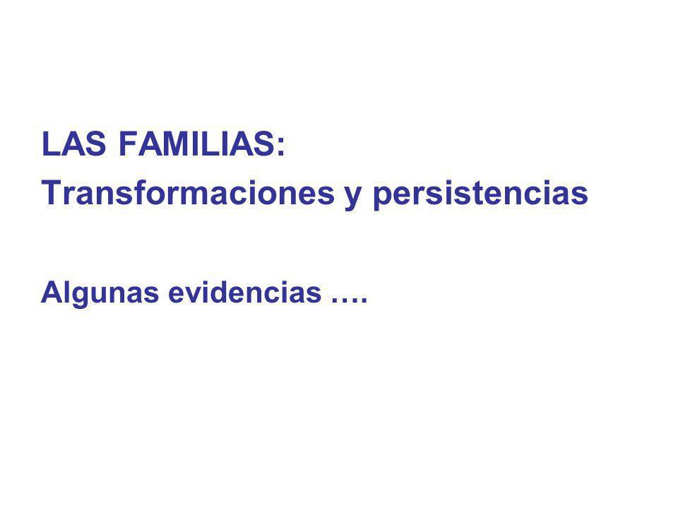 LAS FAMILIAS: Transformaciones y persistencias Algunas evidencias ….