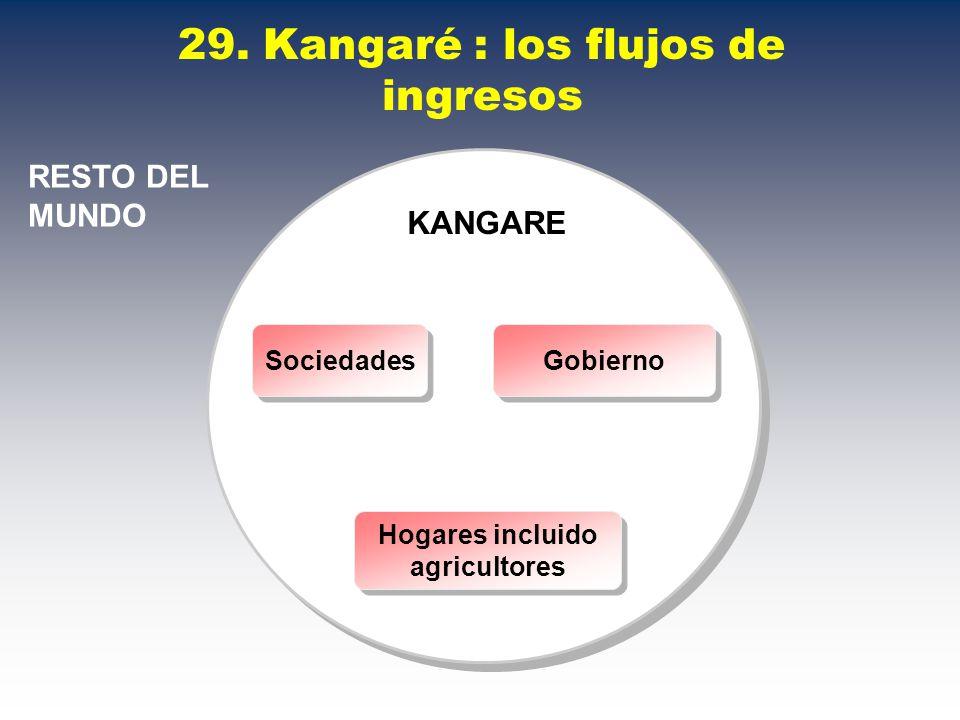 29. Kangaré : los flujos de ingresos RESTO DEL MUNDO KANGARE Sociedades Gobierno Hogares incluido agricultores Hogares incluido agricultores