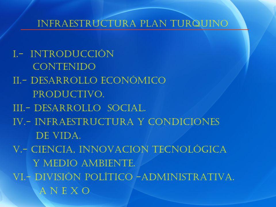 I.- INTRODUCCIÓN CONTENIDO II.- DESARROLLO ECONÓMICO PRODUCTIVO. III.- DESARROLLO SOCIAL. IV.- INFRAESTRUCTURA Y CONDICIONES DE VIDA. V.- CIENCIA, INN