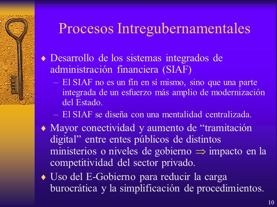 10 Procesos Intregubernamentales Desarrollo de los sistemas integrados de administración financiera (SIAF) –El SIAF no es un fín en sí mismo, sino que una parte integrada de un esfuerzo más amplio de modernización del Estado.