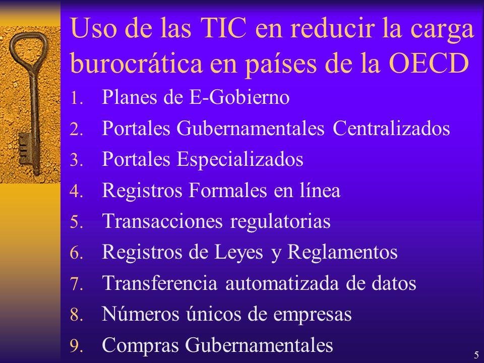 5 Uso de las TIC en reducir la carga burocrática en países de la OECD 1.