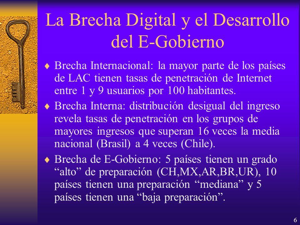 6 La Brecha Digital y el Desarrollo del E-Gobierno Brecha Internacional: la mayor parte de los países de LAC tienen tasas de penetración de Internet entre 1 y 9 usuarios por 100 habitantes.