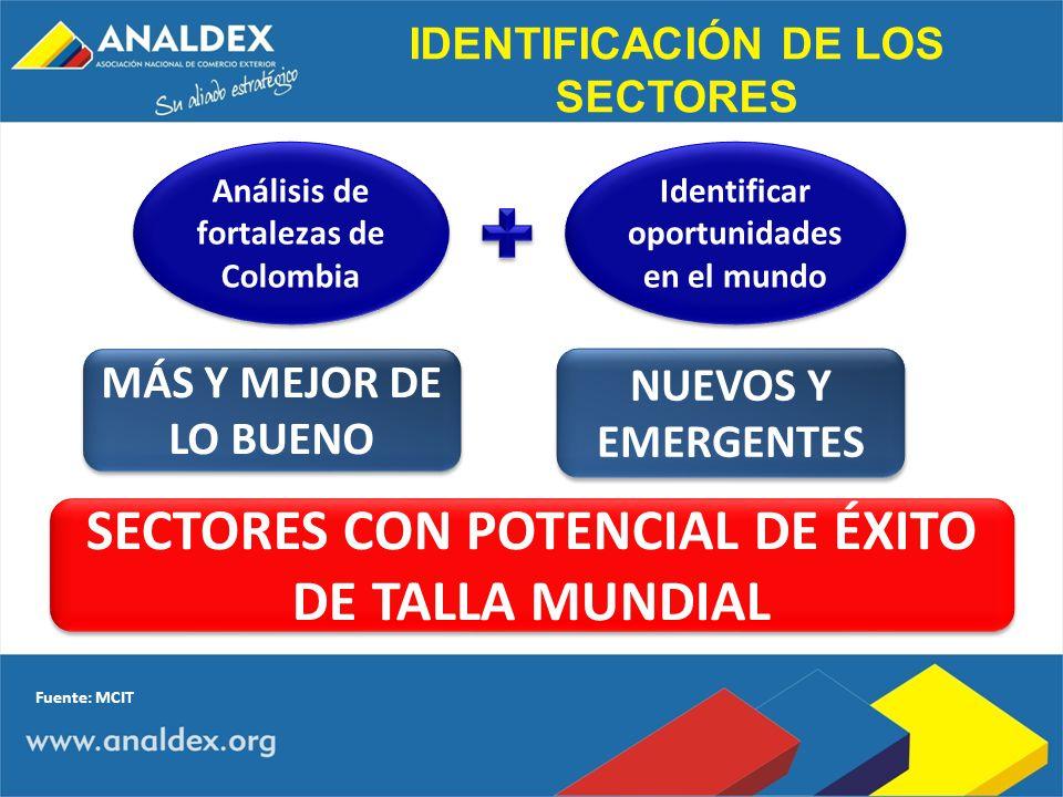 IDENTIFICACIÓN DE LOS SECTORES Análisis de fortalezas de Colombia Identificar oportunidades en el mundo SECTORES CON POTENCIAL DE ÉXITO DE TALLA MUNDI