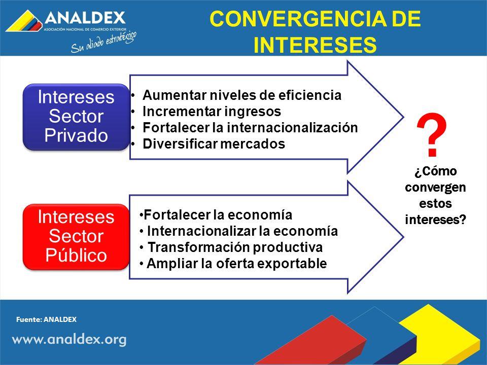 Aumentar niveles de eficiencia Incrementar ingresos Fortalecer la internacionalización Diversificar mercados Intereses Sector Privado Fortalecer la ec