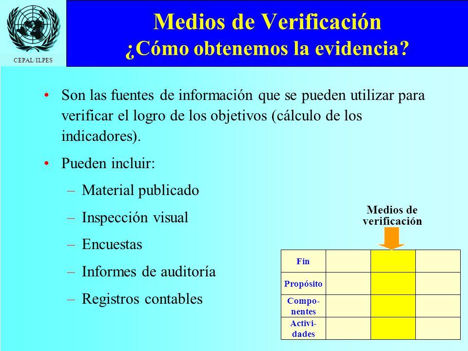 CEPAL/ILPES Medios de Verificación ¿Cómo obtenemos la evidencia? Son las fuentes de información que se pueden utilizar para verificar el logro de los