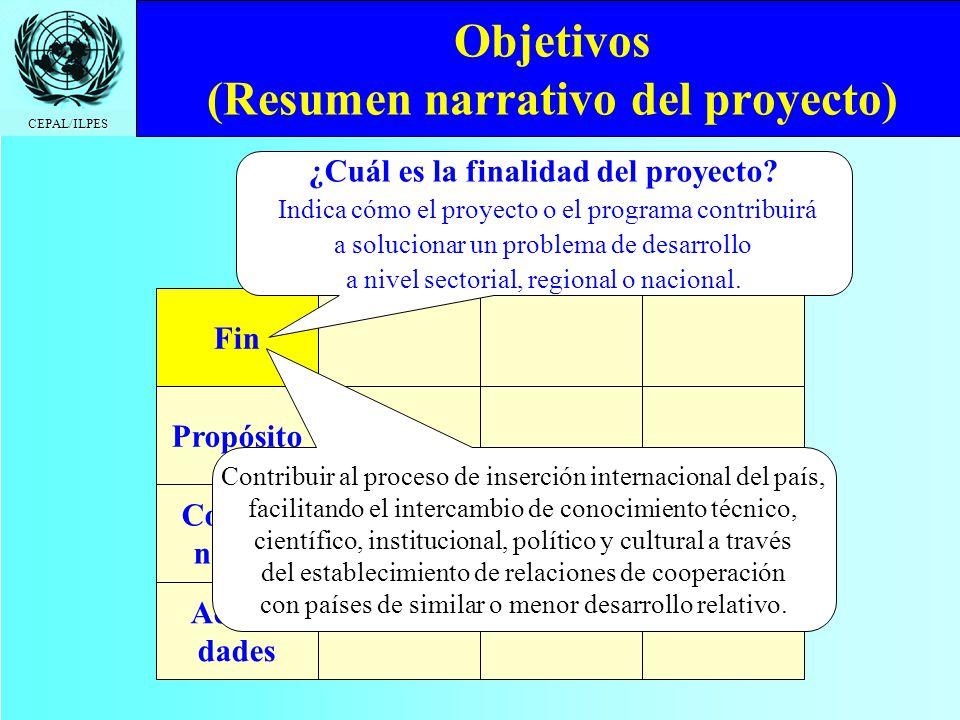 CEPAL/ILPES Objetivos (Resumen narrativo del proyecto) Fin Propósito Compo- nentes Activi- dades ¿Cuál es la finalidad del proyecto? Indica cómo el pr