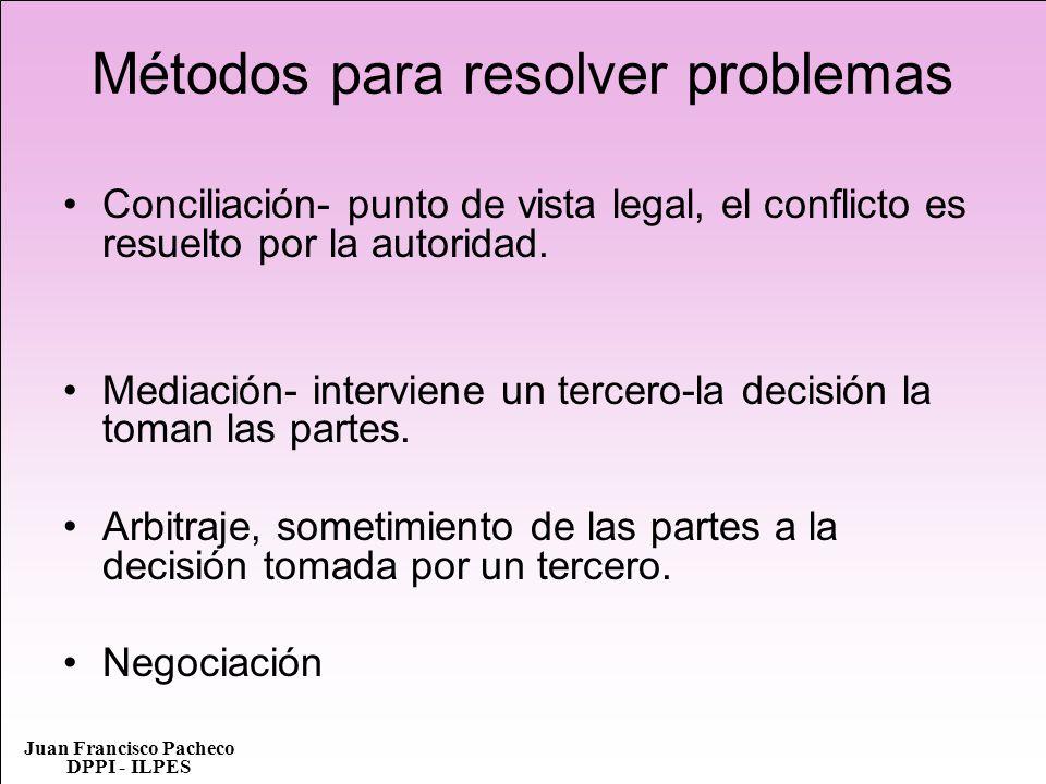 Juan Francisco Pacheco DPPI - ILPES Métodos para resolver problemas Conciliación- punto de vista legal, el conflicto es resuelto por la autoridad. Med