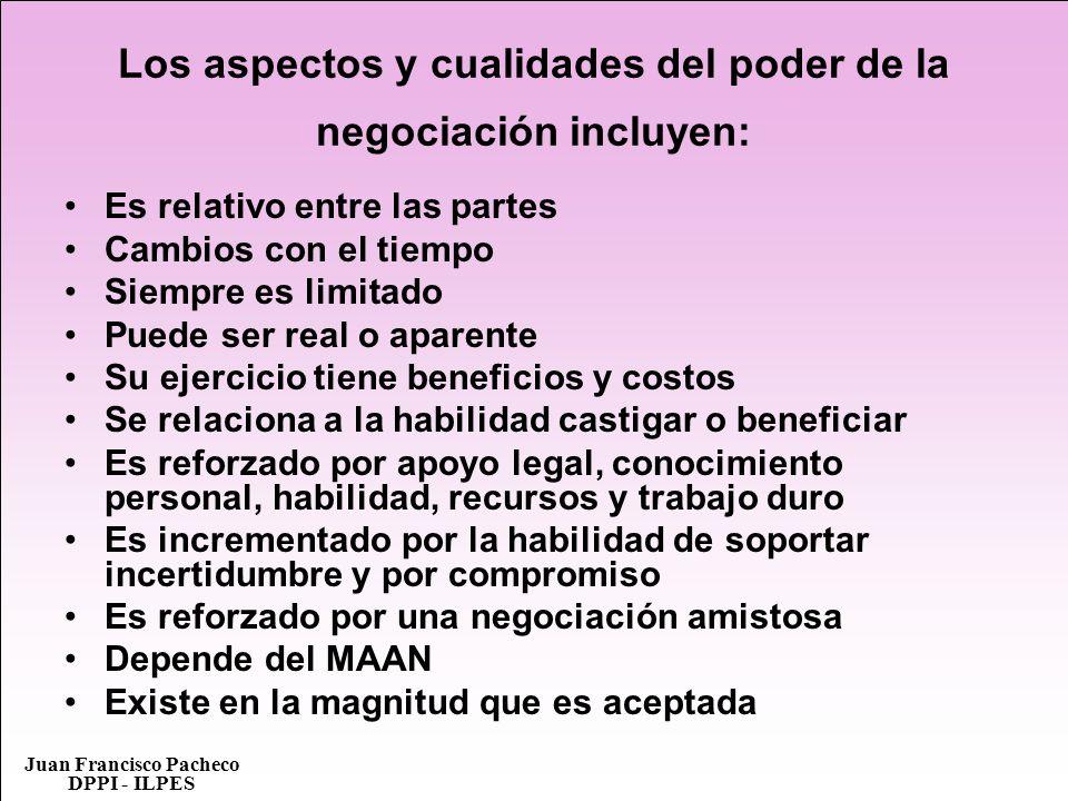 Juan Francisco Pacheco DPPI - ILPES Los aspectos y cualidades del poder de la negociación incluyen: Es relativo entre las partes Cambios con el tiempo