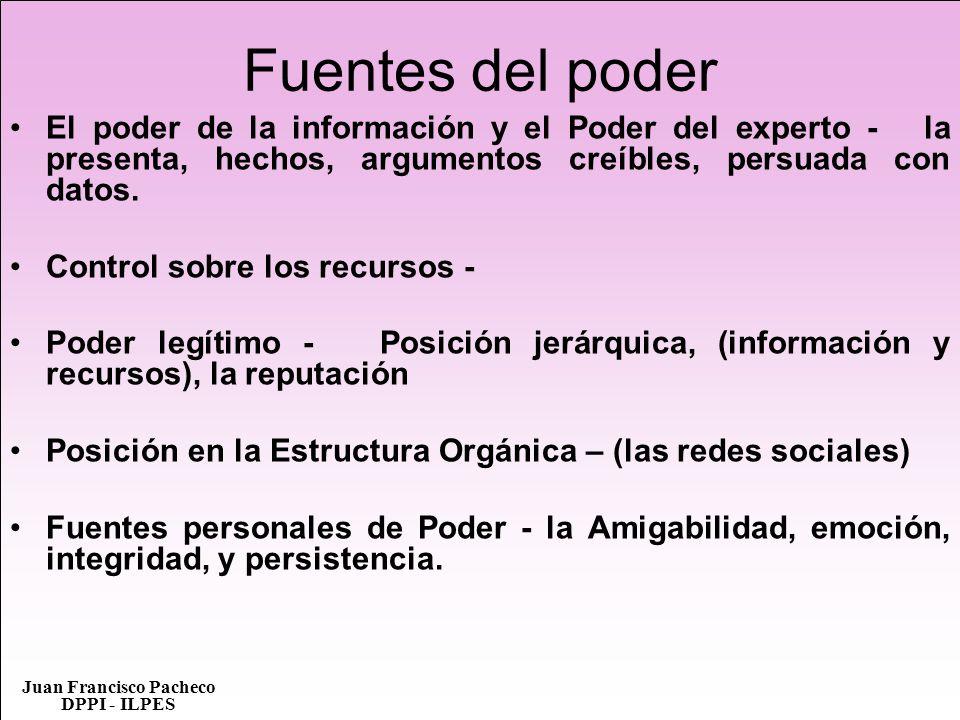 Juan Francisco Pacheco DPPI - ILPES Fuentes del poder El poder de la información y el Poder del experto - la presenta, hechos, argumentos creíbles, pe