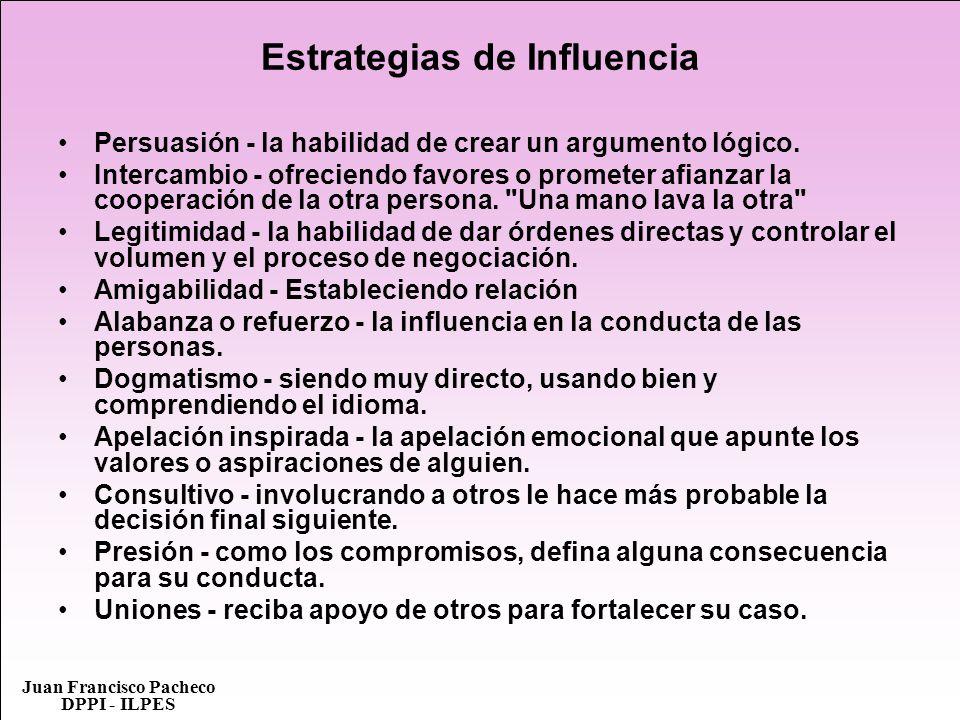 Juan Francisco Pacheco DPPI - ILPES Estrategias de Influencia Persuasión - la habilidad de crear un argumento lógico. Intercambio - ofreciendo favores