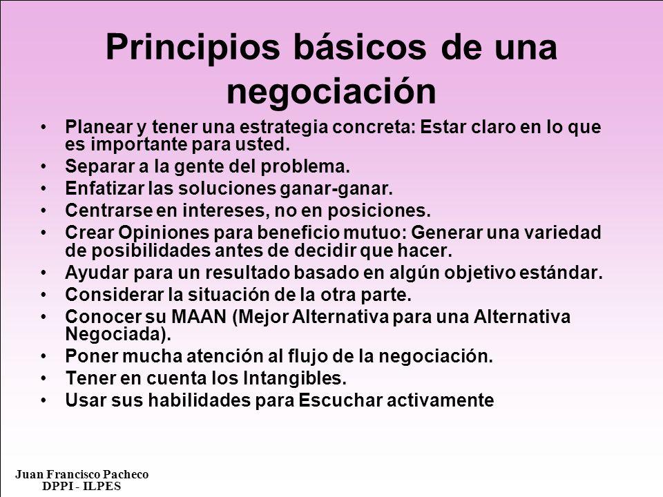 Juan Francisco Pacheco DPPI - ILPES Principios básicos de una negociación Planear y tener una estrategia concreta: Estar claro en lo que es importante