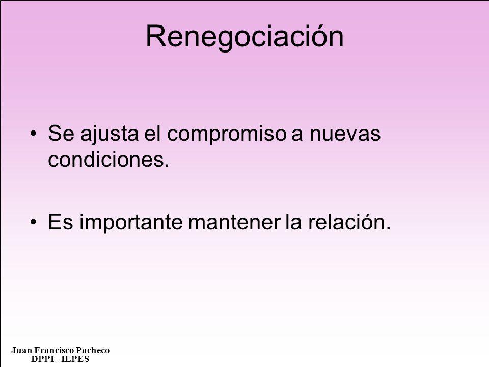 Juan Francisco Pacheco DPPI - ILPES Renegociación Se ajusta el compromiso a nuevas condiciones. Es importante mantener la relación.