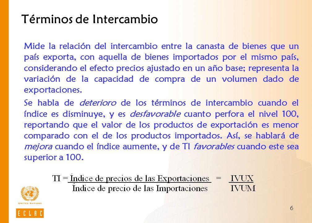 7 Evolución de los Términos de Intercambio Términos de Intercambio de América Latina y el Caribe, precios base 2000 Fuente: CEPAL, Balance Preliminar de las Economías de América Latina y el Caribe, 2008