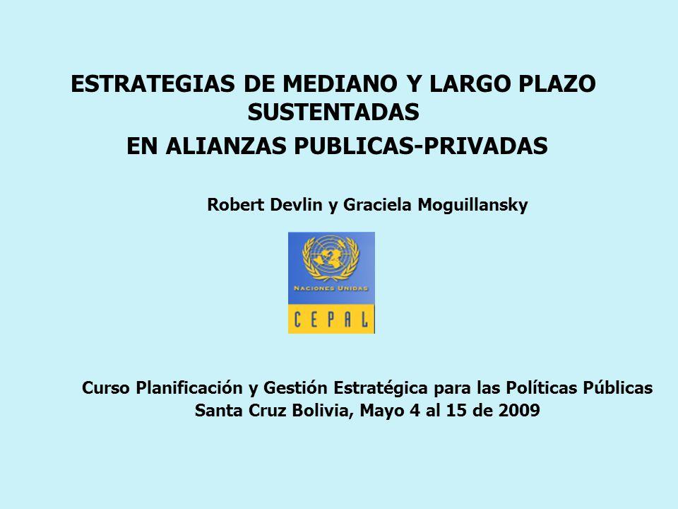 ESTRATEGIAS DE MEDIANO Y LARGO PLAZO SUSTENTADAS EN ALIANZAS PUBLICAS-PRIVADAS Robert Devlin y Graciela Moguillansky Curso Planificación y Gestión Estratégica para las Políticas Públicas Santa Cruz Bolivia, Mayo 4 al 15 de 2009