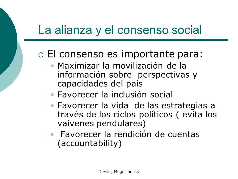 Devlin, Moguillansky La alianza y el consenso social El consenso es importante para: Maximizar la movilización de la información sobre perspectivas y
