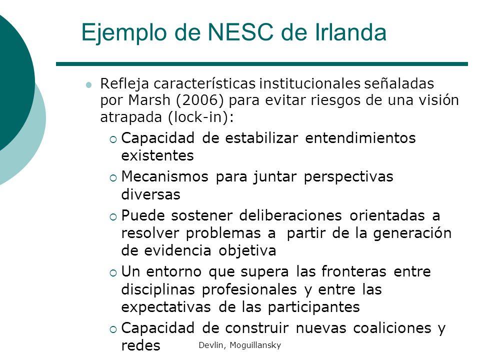 Devlin, Moguillansky Ejemplo de NESC de Irlanda Refleja características institucionales señaladas por Marsh (2006) para evitar riesgos de una visión a