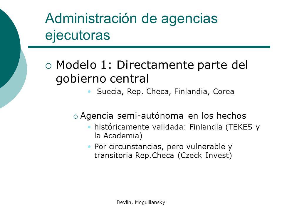 Devlin, Moguillansky Administración de agencias ejecutoras Modelo 1: Directamente parte del gobierno central Suecia, Rep. Checa, Finlandia, Corea Agen