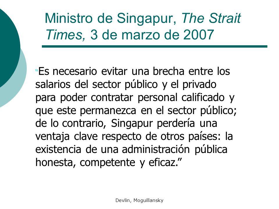 Devlin, Moguillansky Ministro de Singapur, The Strait Times, 3 de marzo de 2007 Es necesario evitar una brecha entre los salarios del sector público y