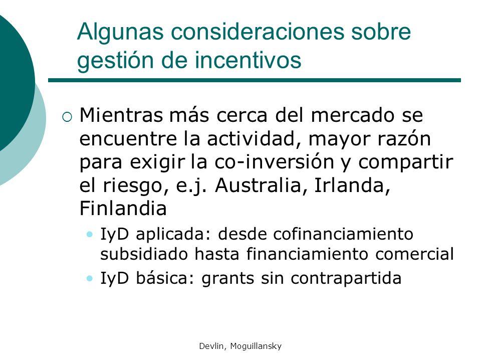 Devlin, Moguillansky Algunas consideraciones sobre gestión de incentivos Mientras más cerca del mercado se encuentre la actividad, mayor razón para exigir la co-inversión y compartir el riesgo, e.j.
