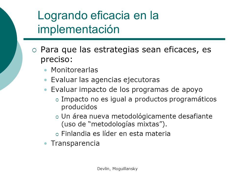 Devlin, Moguillansky Logrando eficacia en la implementación Para que las estrategias sean eficaces, es preciso: Monitorearlas Evaluar las agencias eje
