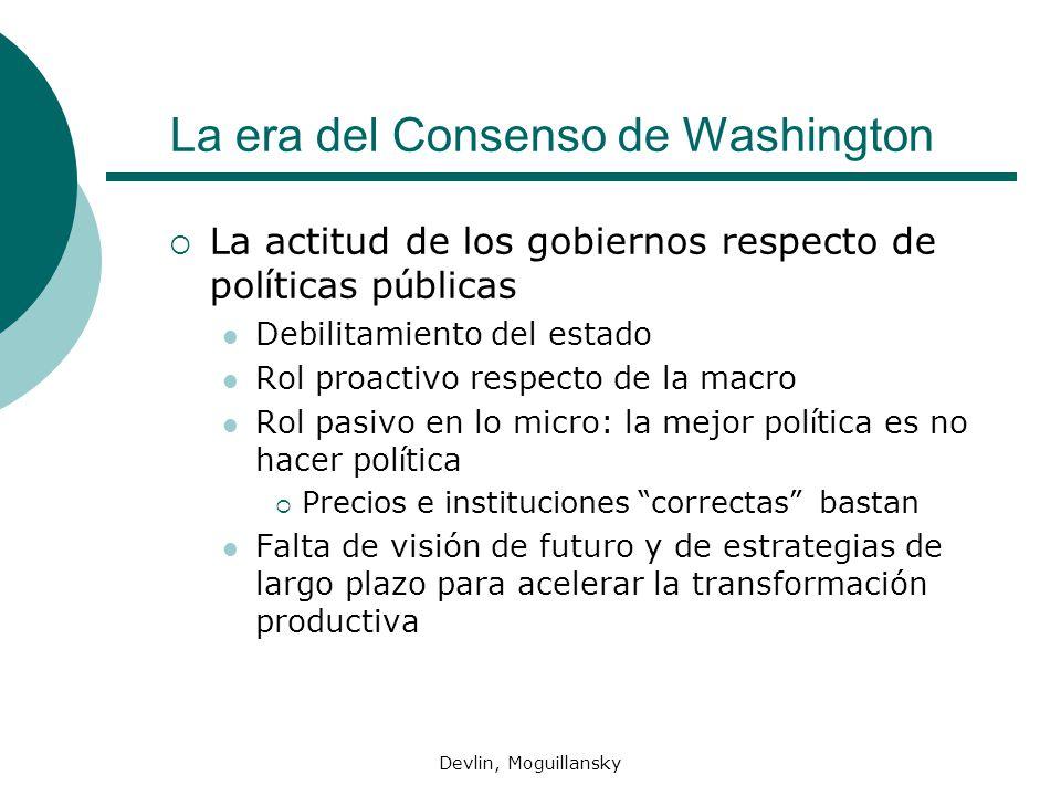 Devlin, Moguillansky La era del Consenso de Washington La actitud de los gobiernos respecto de pol í ticas p ú blicas Debilitamiento del estado Rol pr
