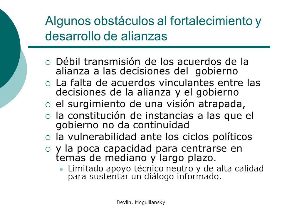 Devlin, Moguillansky Algunos obstáculos al fortalecimiento y desarrollo de alianzas Débil transmisión de los acuerdos de la alianza a las decisiones d