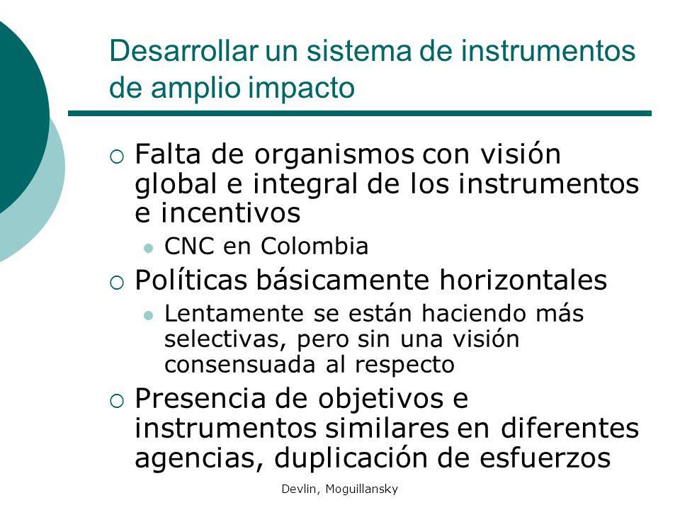 Devlin, Moguillansky Desarrollar un sistema de instrumentos de amplio impacto Falta de organismos con visión global e integral de los instrumentos e i