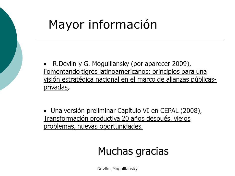 Devlin, Moguillansky R.Devlin y G. Moguillansky (por aparecer 2009), Fomentando tigres latinoamericanos: principios para una visión estratégica nacion