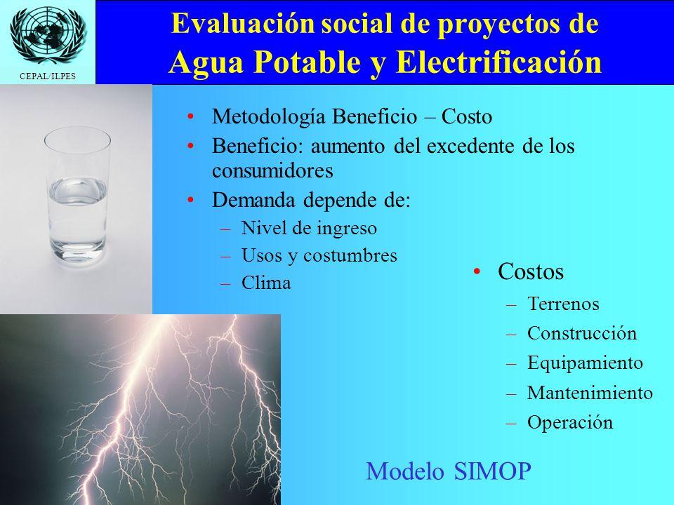 CEPAL/ILPES Evaluación social de proyectos de Vivienda Metodología costo eficiencia Costos –T–Terrenos –C–Construcción –S–Servicios básicos –S–Servicios complementarios –C–Costos de transporte y mayor congestión