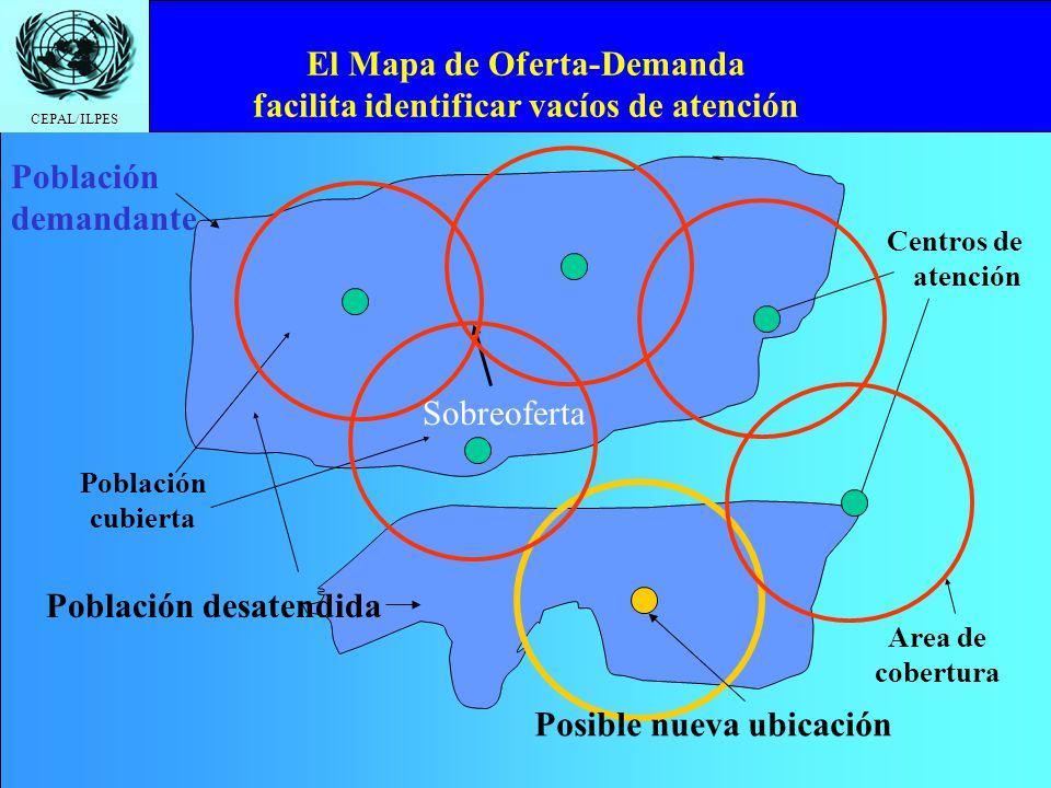 CEPAL/ILPES El Mapa de Oferta-Demanda facilita identificar vacíos de atención Centros de atención Población desatendida Población cubierta Area de cob