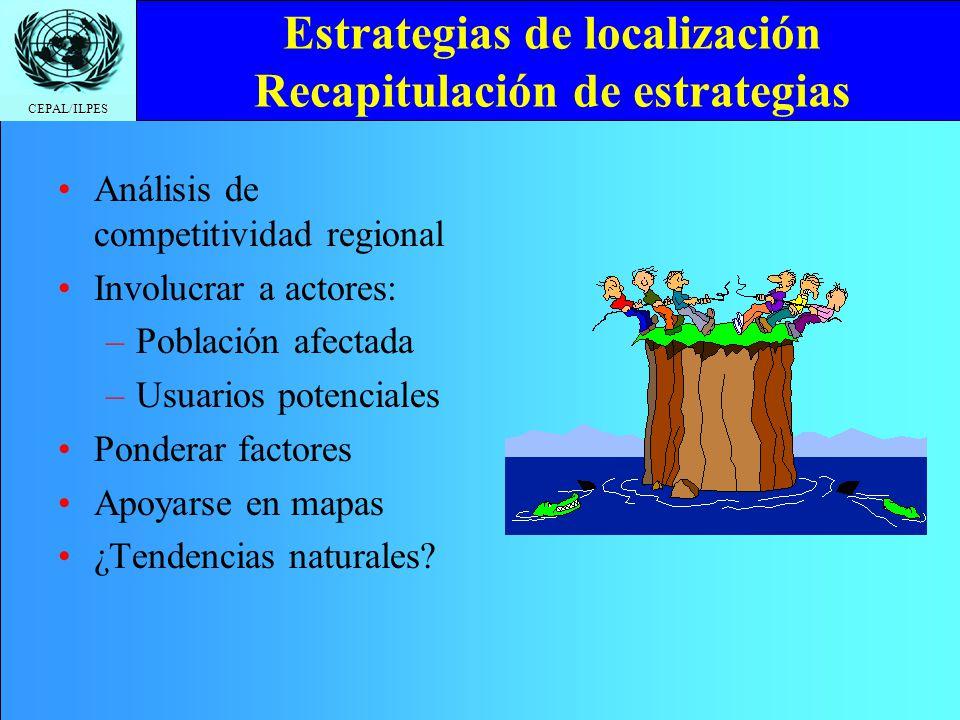 CEPAL/ILPES Estrategias de localización Recapitulación de estrategias Análisis de competitividad regional Involucrar a actores: –Población afectada –U