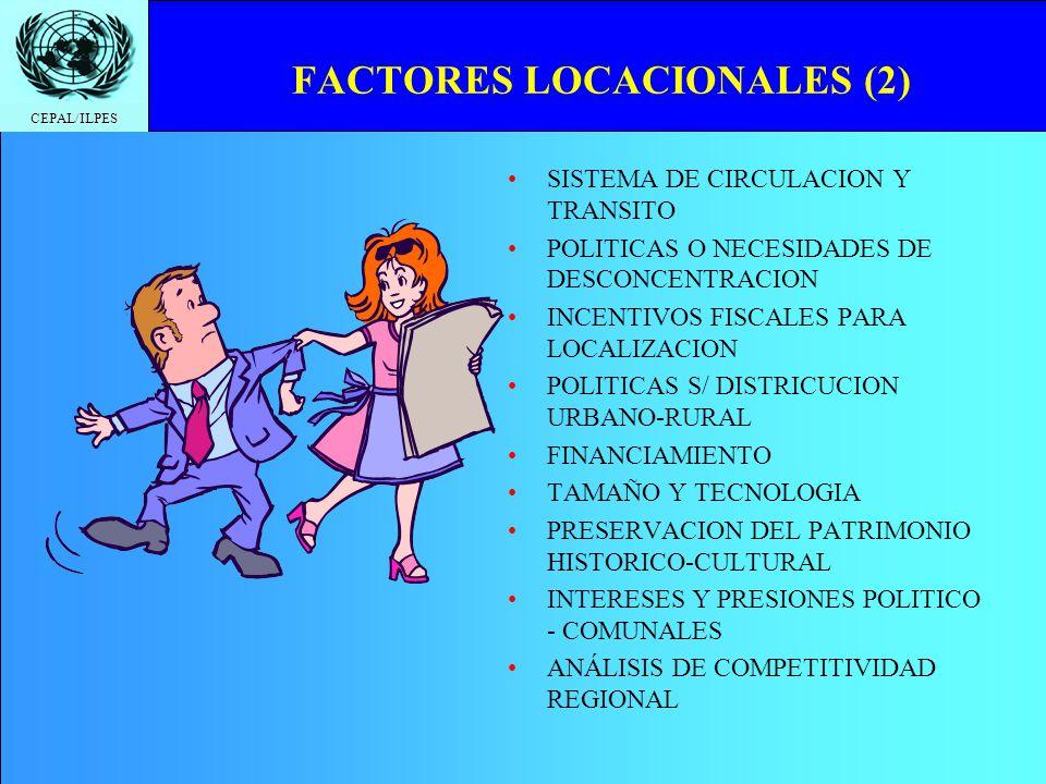 CEPAL/ILPES FACTORES LOCACIONALES (2) SISTEMA DE CIRCULACION Y TRANSITO POLITICAS O NECESIDADES DE DESCONCENTRACION INCENTIVOS FISCALES PARA LOCALIZAC