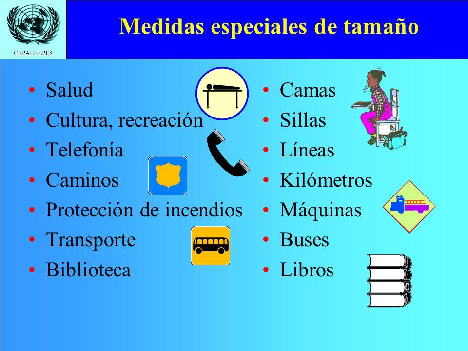 CEPAL/ILPES Medidas especiales de tamaño Salud Cultura, recreación Telefonía Caminos Protección de incendios Transporte Biblioteca Camas Sillas Líneas