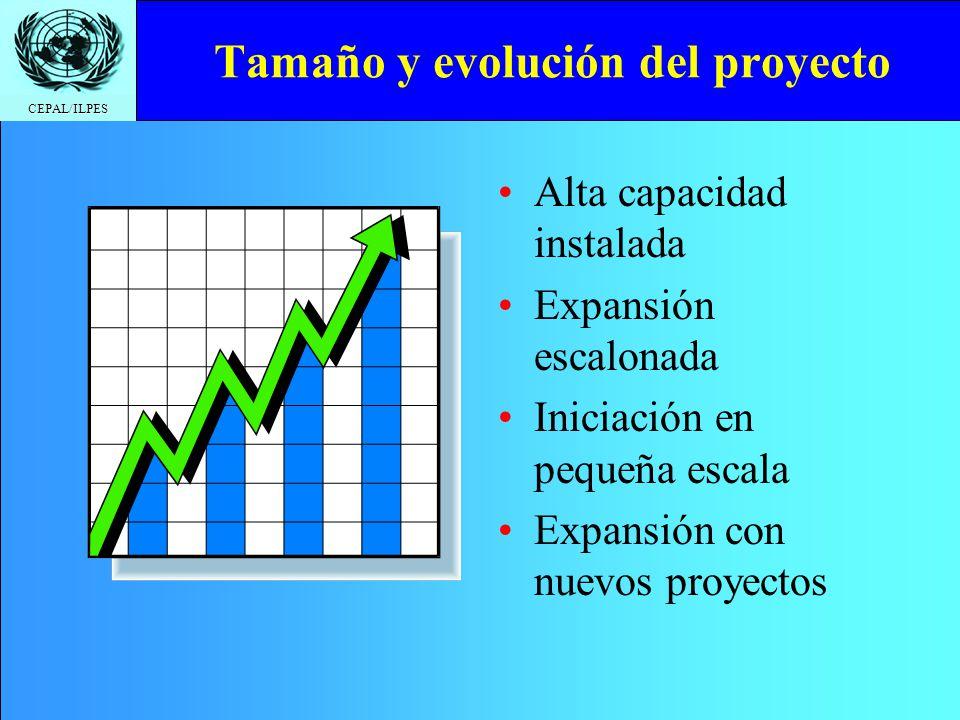 CEPAL/ILPES Tamaño y evolución del proyecto Alta capacidad instalada Expansión escalonada Iniciación en pequeña escala Expansión con nuevos proyectos