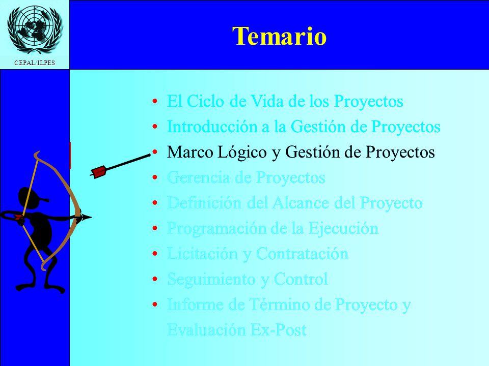 Ciclo de Vida Introducción a la gestión Marco Lógico y Gestión Gerencia de proyectos Definición del Proyecto Programación de la Ejecución Licitación y Contratación Seguimiento y Control Informe de Término Temario CEPAL/ILPES Es un instrumento de gestión de proyectos.
