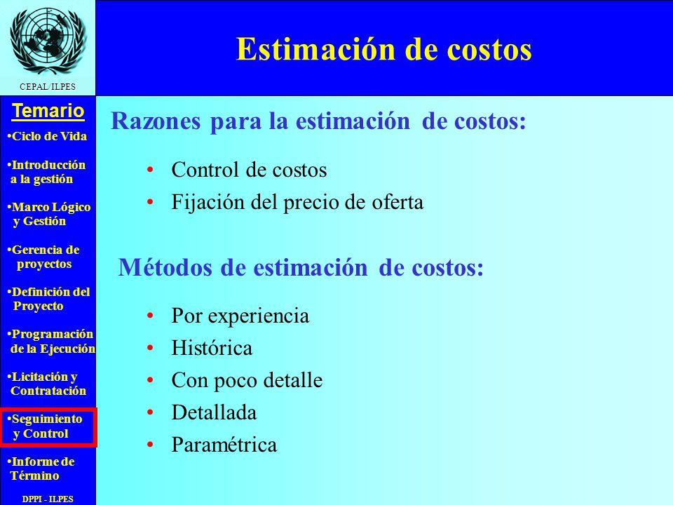 Ciclo de Vida Introducción a la gestión Marco Lógico y Gestión Gerencia de proyectos Definición del Proyecto Programación de la Ejecución Licitación y Contratación Seguimiento y Control Informe de Término Temario CEPAL/ILPES DPPI - ILPES Estimación de costos Control de costos Fijación del precio de oferta Razones para la estimación de costos: Métodos de estimación de costos: Por experiencia Histórica Con poco detalle Detallada Paramétrica