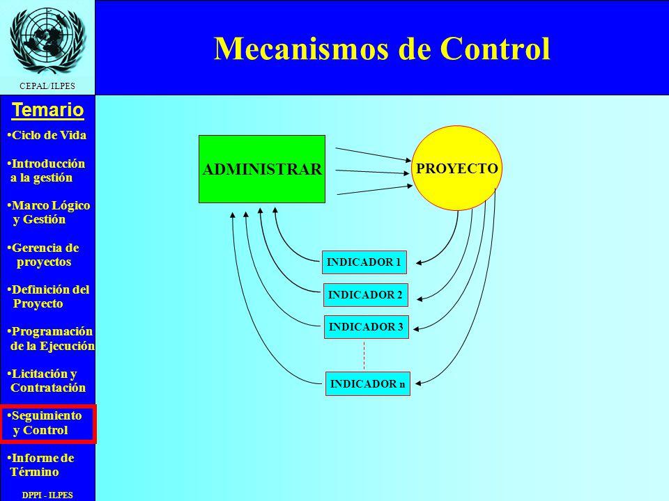 Ciclo de Vida Introducción a la gestión Marco Lógico y Gestión Gerencia de proyectos Definición del Proyecto Programación de la Ejecución Licitación y Contratación Seguimiento y Control Informe de Término Temario CEPAL/ILPES DPPI - ILPES Indicador de Actividades Programadas Ejecutadas Las actividades programadas ejecutadas son A y B, X esta ejecutada pero fuera de programa, entonces SDep=11 respecto de SD=17, y IAPE= 64%