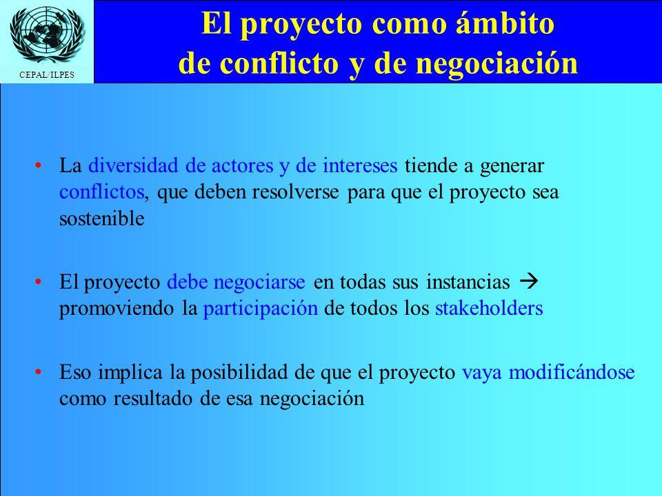 CEPAL/ILPES El proyecto como ámbito de conflicto y de negociación La diversidad de actores y de intereses tiende a generar conflictos, que deben resol
