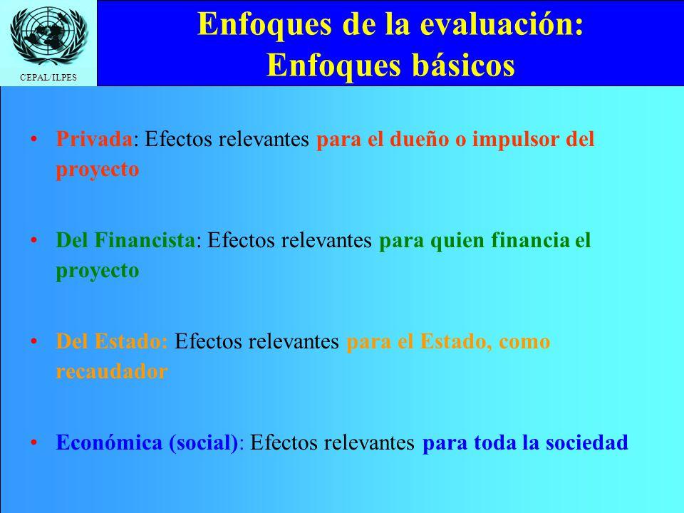 CEPAL/ILPES Enfoques de la evaluación: Enfoques básicos Privada: Efectos relevantes para el dueño o impulsor del proyecto Del Financista: Efectos rele