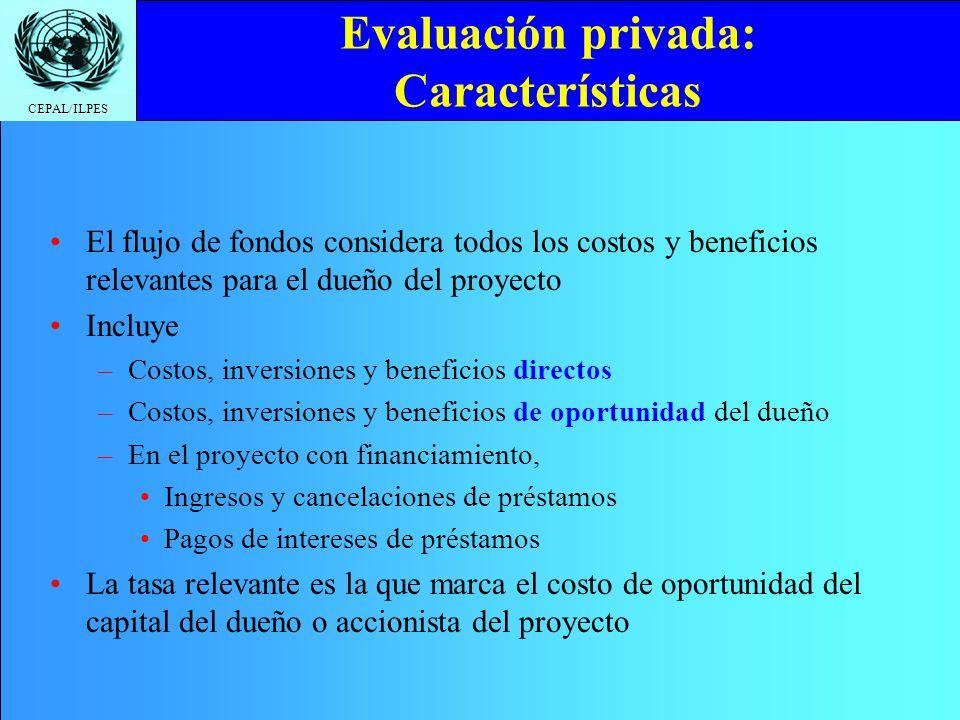CEPAL/ILPES Evaluación privada: Características El flujo de fondos considera todos los costos y beneficios relevantes para el dueño del proyecto Inclu