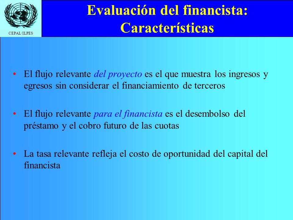 CEPAL/ILPES Evaluación del financista: Características El flujo relevante del proyecto es el que muestra los ingresos y egresos sin considerar el fina