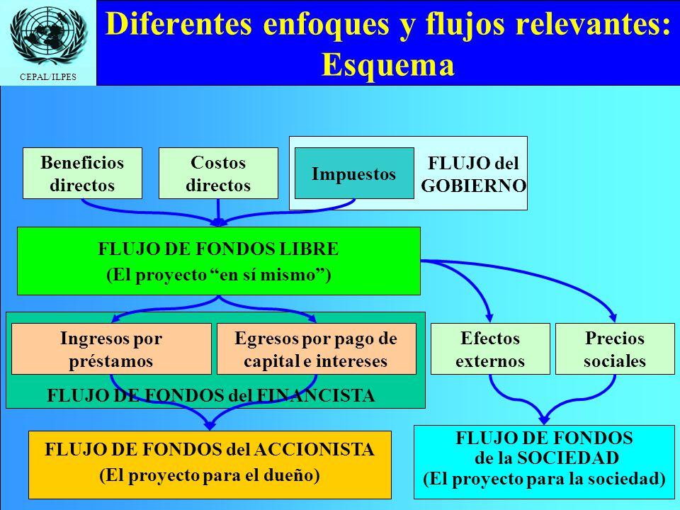 CEPAL/ILPES Diferentes enfoques y flujos relevantes: Esquema Beneficios directos Costos directos FLUJO DE FONDOS LIBRE (El proyecto en sí mismo) Ingre